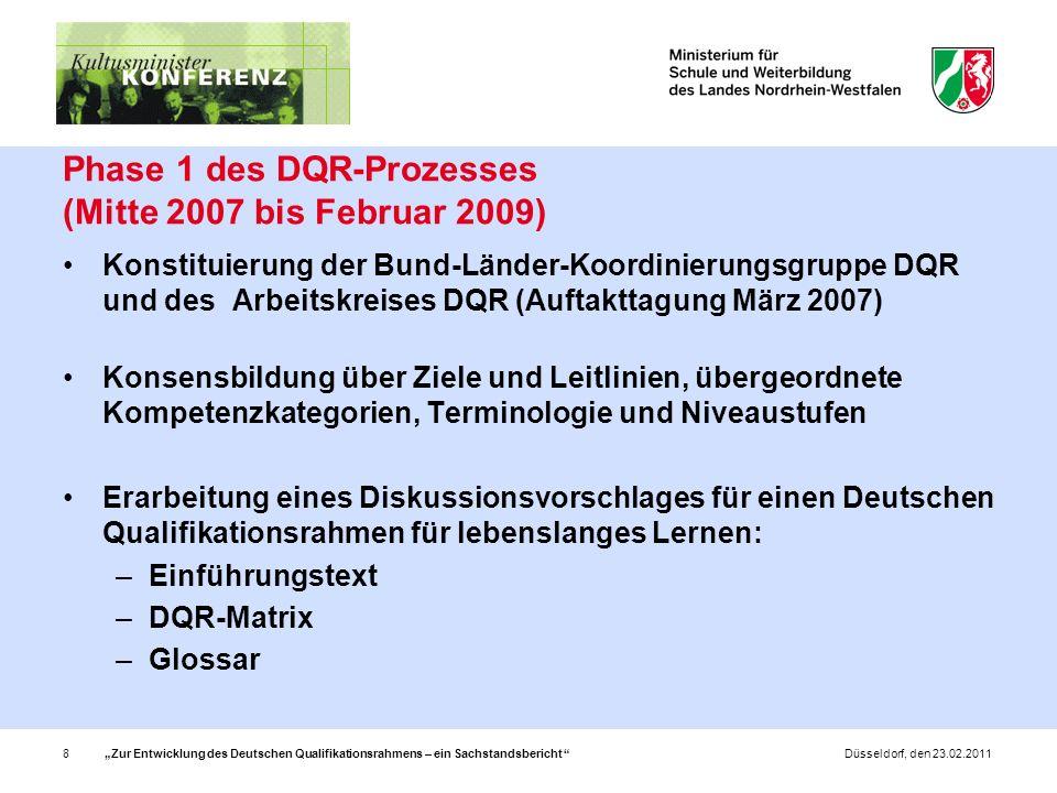 Zur Entwicklung des Deutschen Qualifikationsrahmens – ein Sachstandsbericht 8Düsseldorf, den 23.02.2011 Phase 1 des DQR-Prozesses (Mitte 2007 bis Februar 2009) Konstituierung der Bund-Länder-Koordinierungsgruppe DQR und des Arbeitskreises DQR (Auftakttagung März 2007) Konsensbildung über Ziele und Leitlinien, übergeordnete Kompetenzkategorien, Terminologie und Niveaustufen Erarbeitung eines Diskussionsvorschlages für einen Deutschen Qualifikationsrahmen für lebenslanges Lernen: –Einführungstext –DQR-Matrix –Glossar