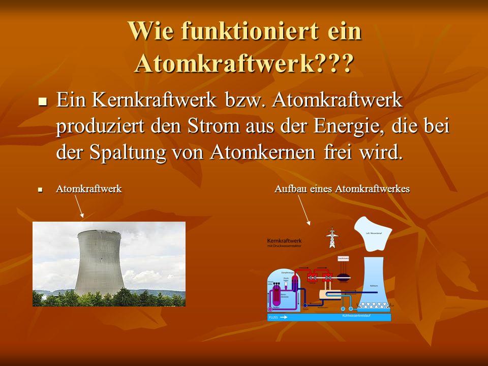 Wie funktioniert ein Atomkraftwerk??? Ein Kernkraftwerk bzw. Atomkraftwerk produziert den Strom aus der Energie, die bei der Spaltung von Atomkernen f