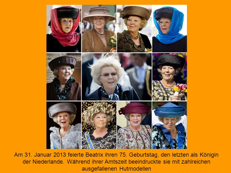 Seit 1980 war Königin Beatrix Staatsoberhaupt der Niederlande. Am 30. April 2013 endet eine drei Jahrzehnte lange, skandalfreie Regentschaft. Die Mona