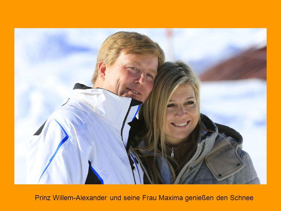 Prinz Willem-Alexander und seine Frau Maxima genießen den Schnee