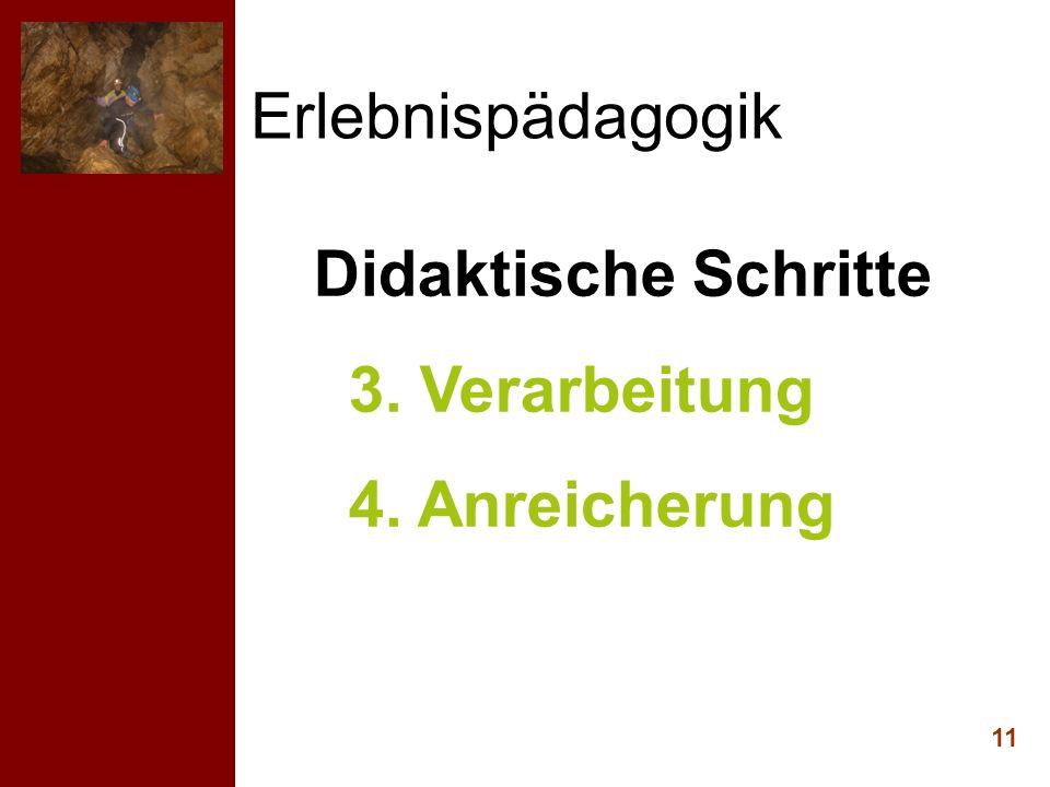 Erlebnispädagogik 11 Didaktische Schritte 3. Verarbeitung 4. Anreicherung