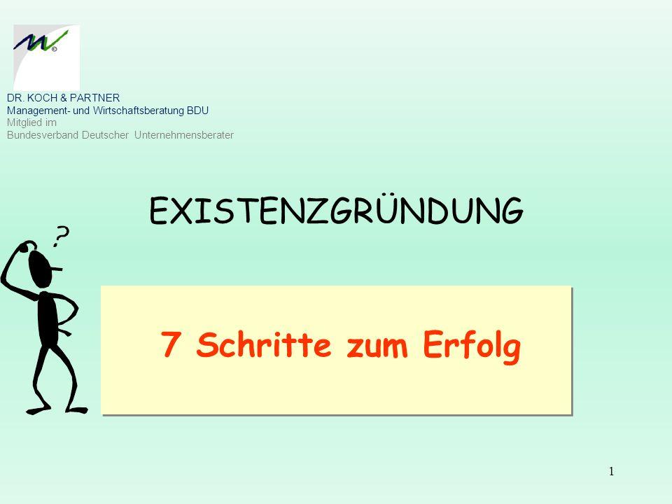 EXISTENZGRÜNDUNG 7 Schritte zum Erfolg 1 DR. KOCH & PARTNER Management- und Wirtschaftsberatung BDU Mitglied im Bundesverband Deutscher Unternehmensbe