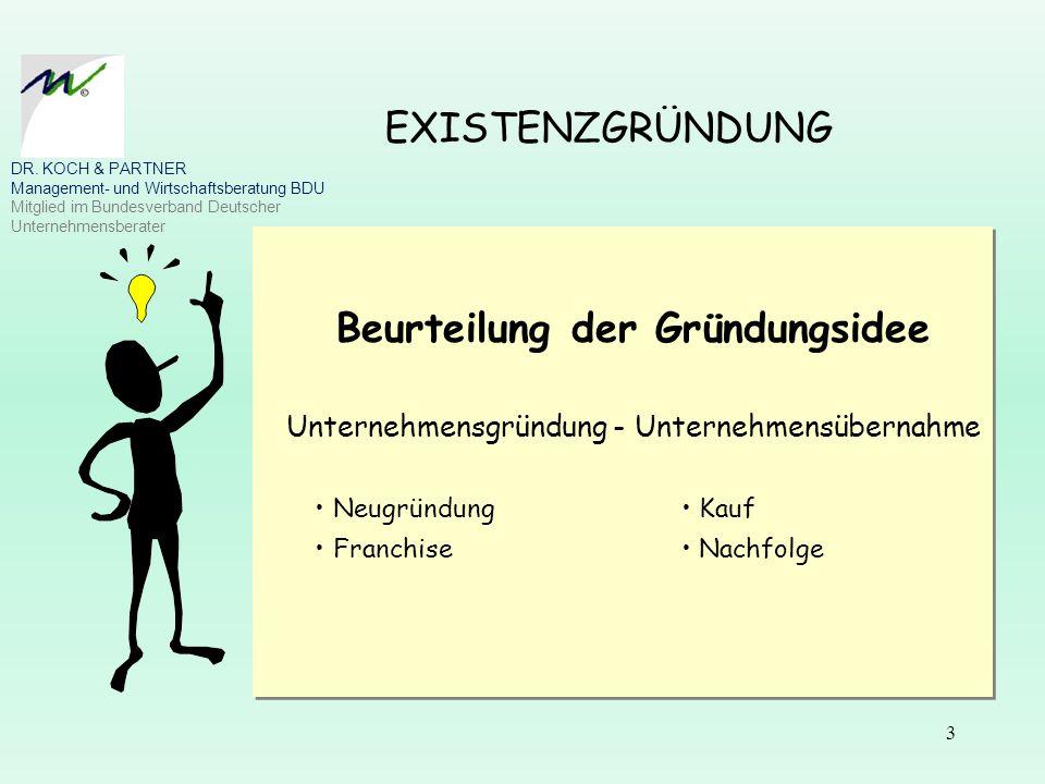 3 EXISTENZGRÜNDUNG Beurteilung der Gründungsidee Unternehmensgründung - Unternehmensübernahme Neugründung Kauf Franchise Nachfolge Beurteilung der Grü