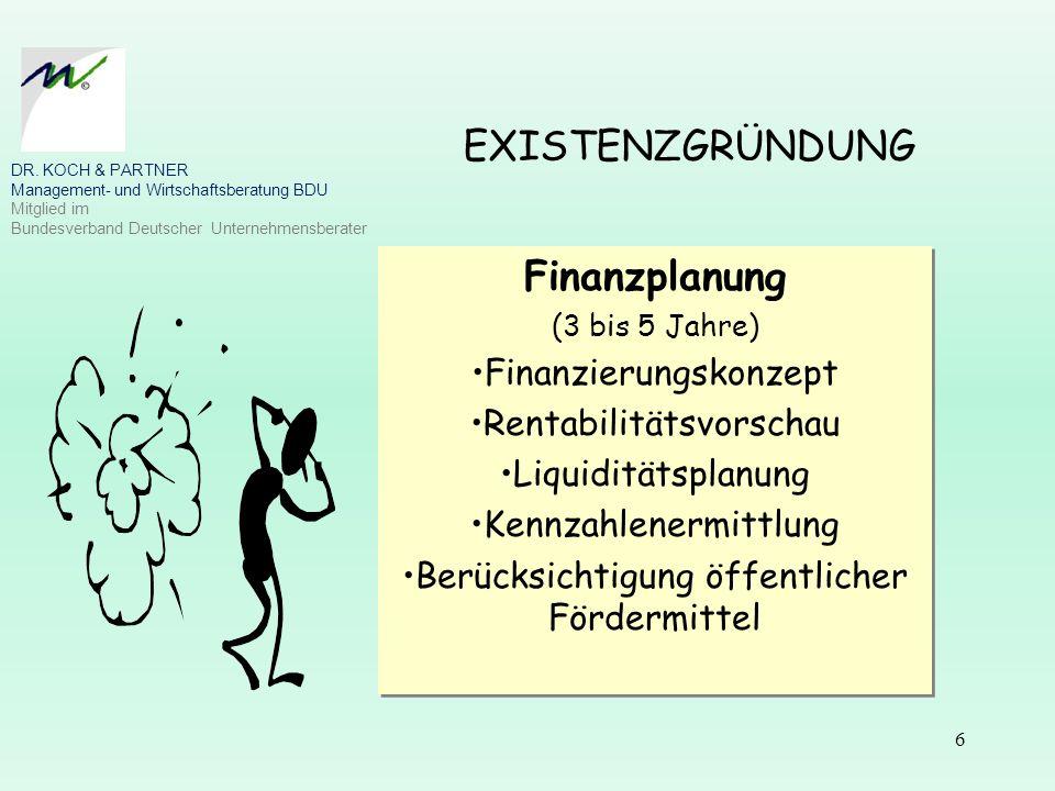 6 EXISTENZGRÜNDUNG Finanzplanung (3 bis 5 Jahre) Finanzierungskonzept Rentabilitätsvorschau Liquiditätsplanung Kennzahlenermittlung Berücksichtigung ö