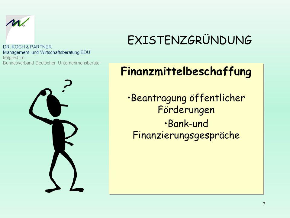 7 EXISTENZGRÜNDUNG Finanzmittelbeschaffung Beantragung öffentlicher Förderungen Bank-und Finanzierungsgespräche Finanzmittelbeschaffung Beantragung öf