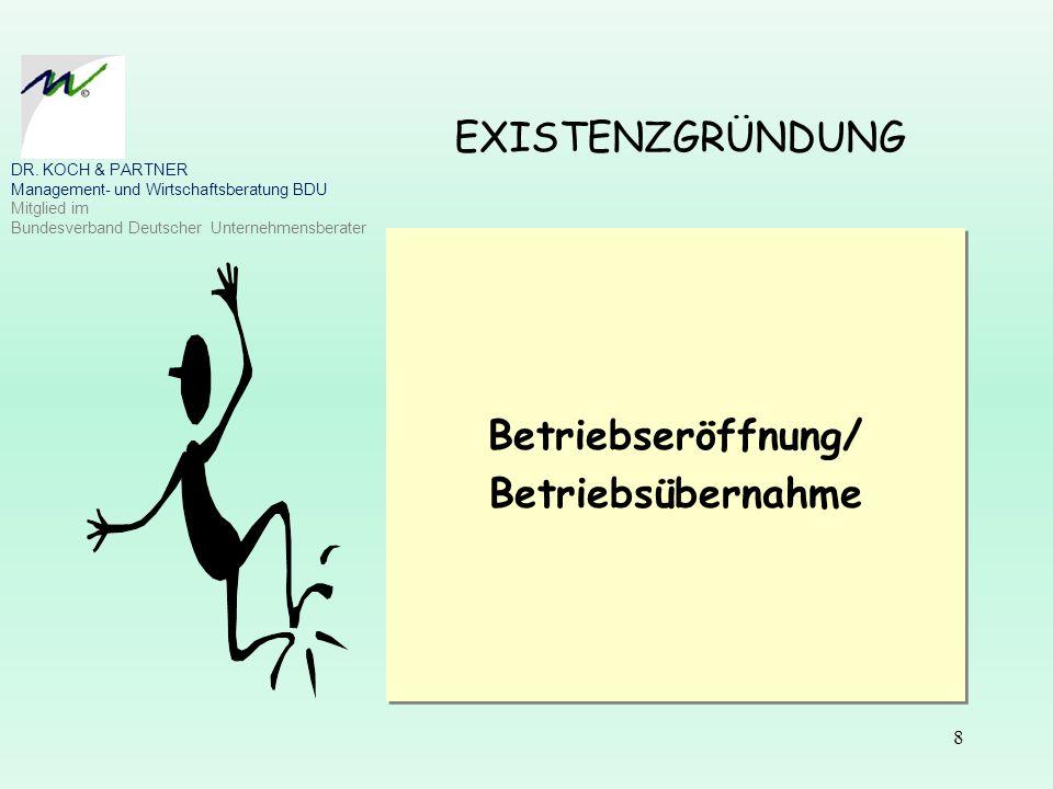 8 EXISTENZGRÜNDUNG Betriebseröffnung/ Betriebsübernahme Betriebseröffnung/ Betriebsübernahme DR. KOCH & PARTNER Management- und Wirtschaftsberatung BD