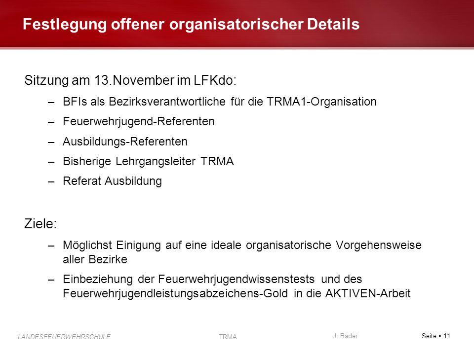 Seite 11 J. Bader LANDESFEUERWEHRSCHULE TRMA Festlegung offener organisatorischer Details Sitzung am 13.November im LFKdo: –BFIs als Bezirksverantwort