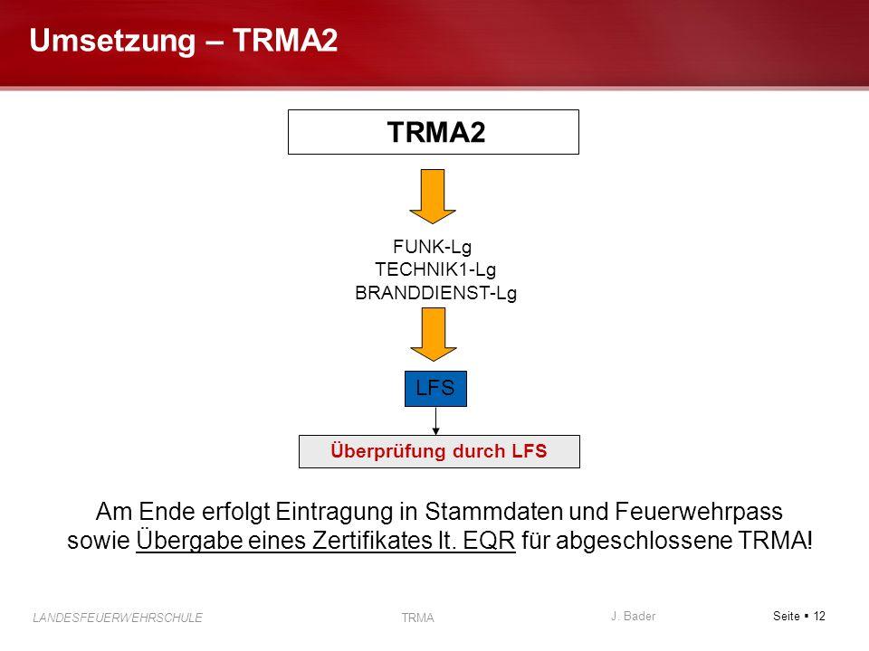 Seite 12 J. Bader LANDESFEUERWEHRSCHULE TRMA Umsetzung – TRMA2 TRMA2 FUNK-Lg TECHNIK1-Lg BRANDDIENST-Lg LFS Überprüfung durch LFS Am Ende erfolgt Eint