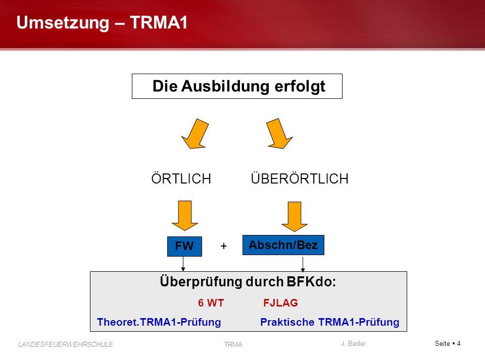 Seite 4 J. Bader LANDESFEUERWEHRSCHULE TRMA Umsetzung – TRMA1 FW Abschn/Bez + Überprüfung durch BFKdo: 6 WT FJLAG Theoret.TRMA1-Prüfung Praktische TRM