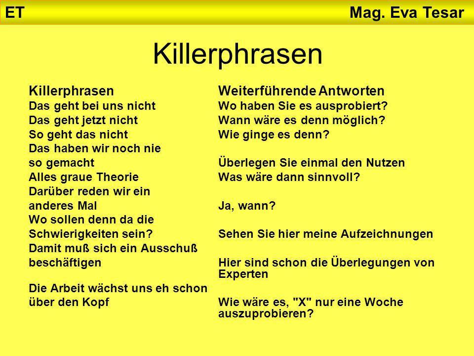 Killerphrasen KillerphrasenWeiterführende Antworten Das geht bei uns nichtWo haben Sie es ausprobiert? Das geht jetzt nichtWann wäre es denn möglich?
