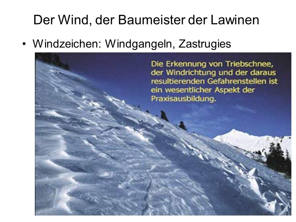Der Wind, der Baumeister der Lawinen Windzeichen: Windgangeln, Zastrugies