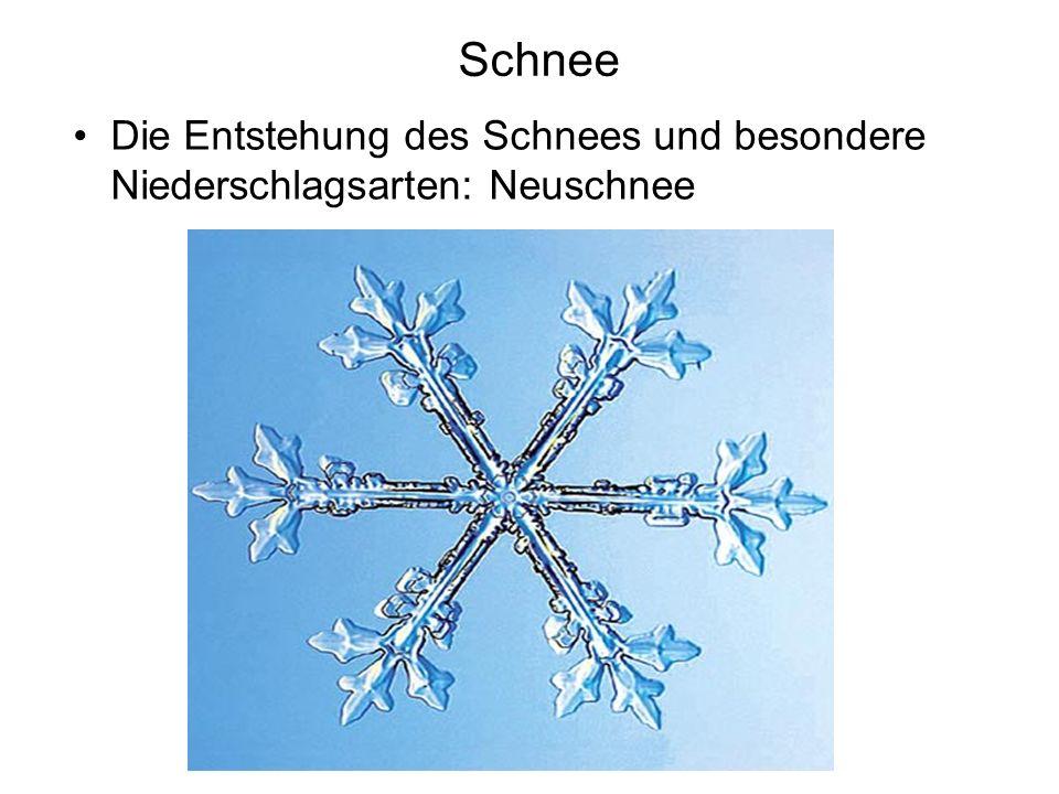 Schnee Die Entstehung des Schnees und besondere Niederschlagsarten: Neuschnee