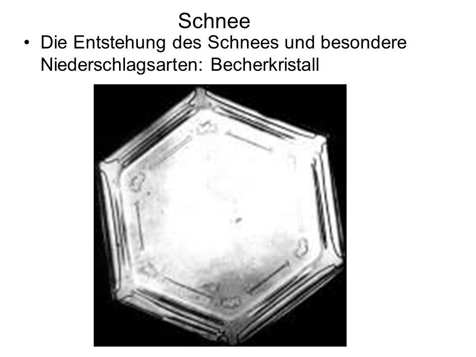 Schnee Die Entstehung des Schnees und besondere Niederschlagsarten: Becherkristall