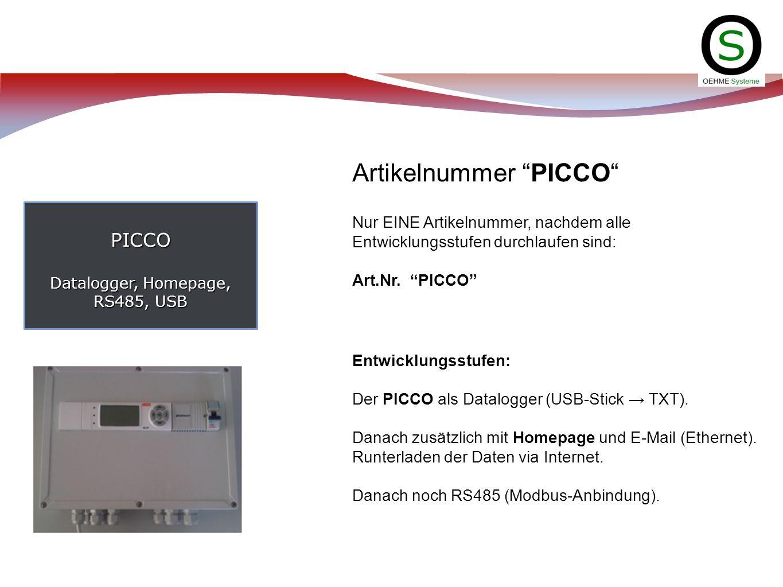 PICCO Datalogger, Homepage, RS485, USB Artikelnummer PICCO Nur EINE Artikelnummer, nachdem alle Entwicklungsstufen durchlaufen sind: Art.Nr. PICCO Ent
