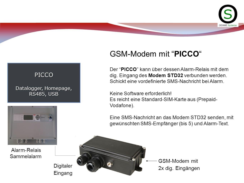 PICCO Datalogger, Homepage, RS485, USB GSM-Modem mit PICCO Der PICCO kann über dessen Alarm-Relais mit dem dig. Eingang des Modem STD32 verbunden werd