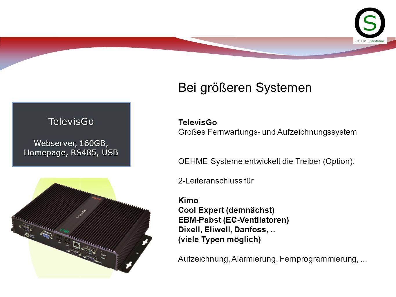 TelevisGo Webserver, 160GB, Homepage, RS485, USB Bei größeren Systemen TelevisGo Großes Fernwartungs- und Aufzeichnungssystem OEHME-Systeme entwickelt