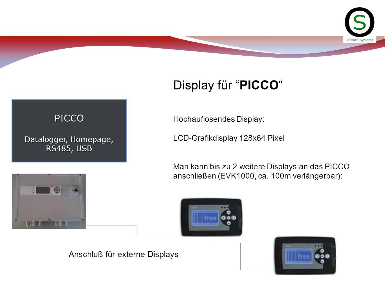 PICCO Datalogger, Homepage, RS485, USB Display für PICCO Hochauflösendes Display: LCD-Grafikdisplay 128x64 Pixel Man kann bis zu 2 weitere Displays an