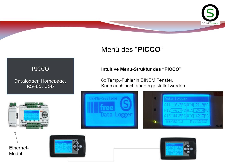 PICCO Datalogger, Homepage, RS485, USB Menü des PICCO Intuitive Menü-Struktur des PICCO 6x Temp.-Fühler in EINEM Fenster. Kann auch noch anders gestal