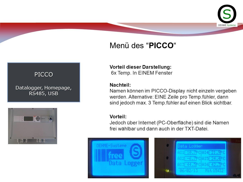 PICCO Datalogger, Homepage, RS485, USB Menü des PICCO Vorteil dieser Darstellung: 6x Temp. In EINEM Fenster Nachteil: Namen können im PICCO-Display ni