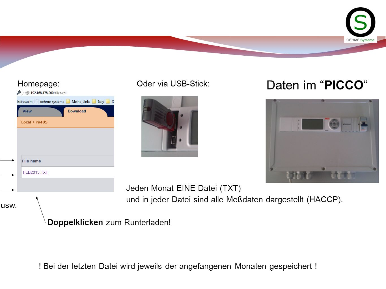 Daten im PICCO ! Bei der letzten Datei wird jeweils der angefangenen Monaten gespeichert ! Homepage: Oder via USB-Stick: Jeden Monat EINE Datei (TXT)