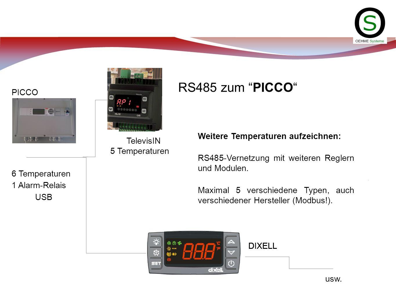 RS485 zum PICCO usw. Weitere Temperaturen aufzeichnen: RS485-Vernetzung mit weiteren Reglern und Modulen. Maximal 5 verschiedene Typen, auch verschied