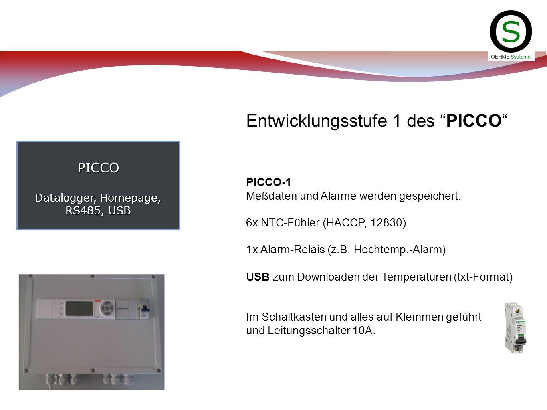 PICCO Datalogger, Homepage, RS485, USB Entwicklungsstufe 1 des PICCO PICCO-1 Meßdaten und Alarme werden gespeichert. 6x NTC-Fühler (HACCP, 12830) 1x A