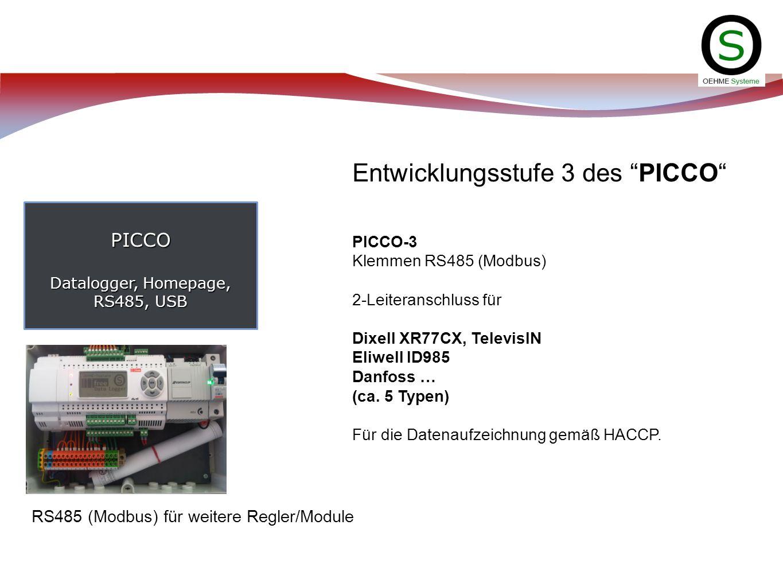 PICCO Datalogger, Homepage, RS485, USB Entwicklungsstufe 3 des PICCO PICCO-3 Klemmen RS485 (Modbus) 2-Leiteranschluss für Dixell XR77CX, TelevisIN Eli