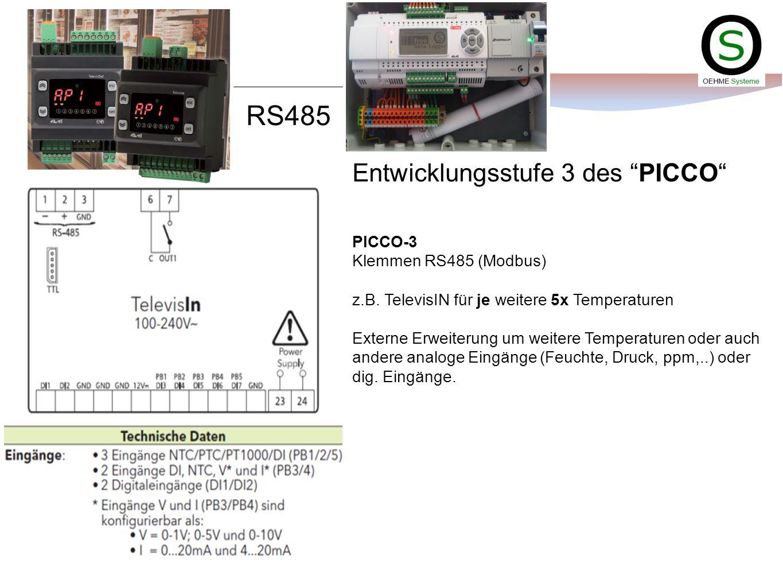 Entwicklungsstufe 3 des PICCO PICCO-3 Klemmen RS485 (Modbus) z.B. TelevisIN für je weitere 5x Temperaturen Externe Erweiterung um weitere Temperaturen
