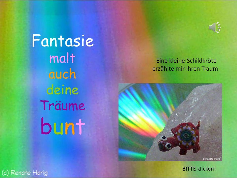 Fantasie malt auch deine Träume bunt Eine kleine Schildkröte erzählte mir ihren Traum BITTE klicken!