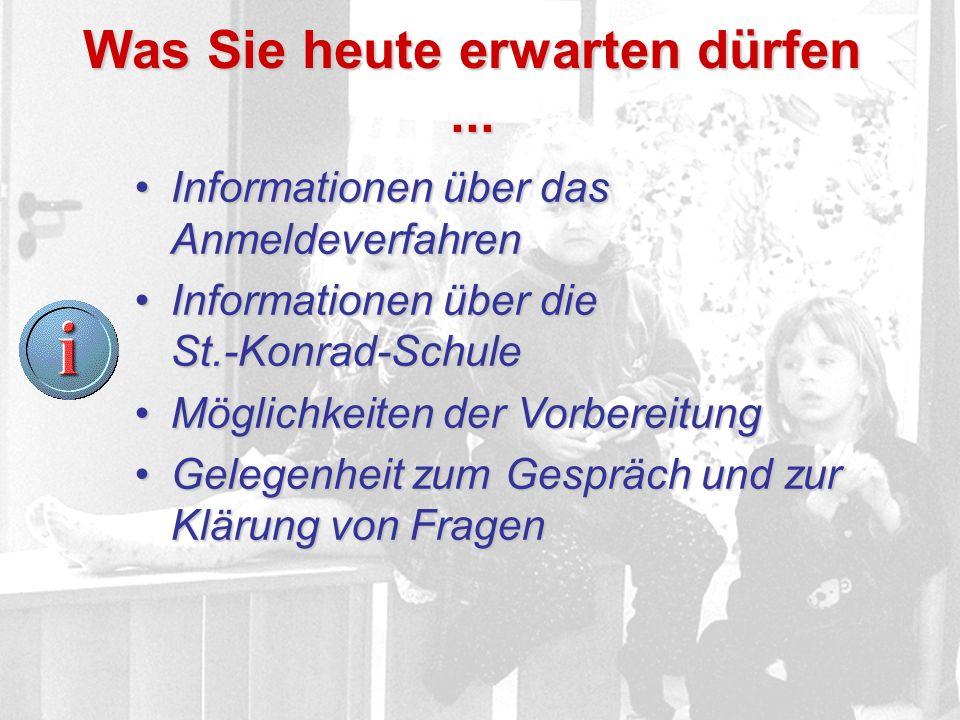 Was Sie heute erwarten dürfen... Informationen über das AnmeldeverfahrenInformationen über das Anmeldeverfahren Informationen über die St.-Konrad-Schu