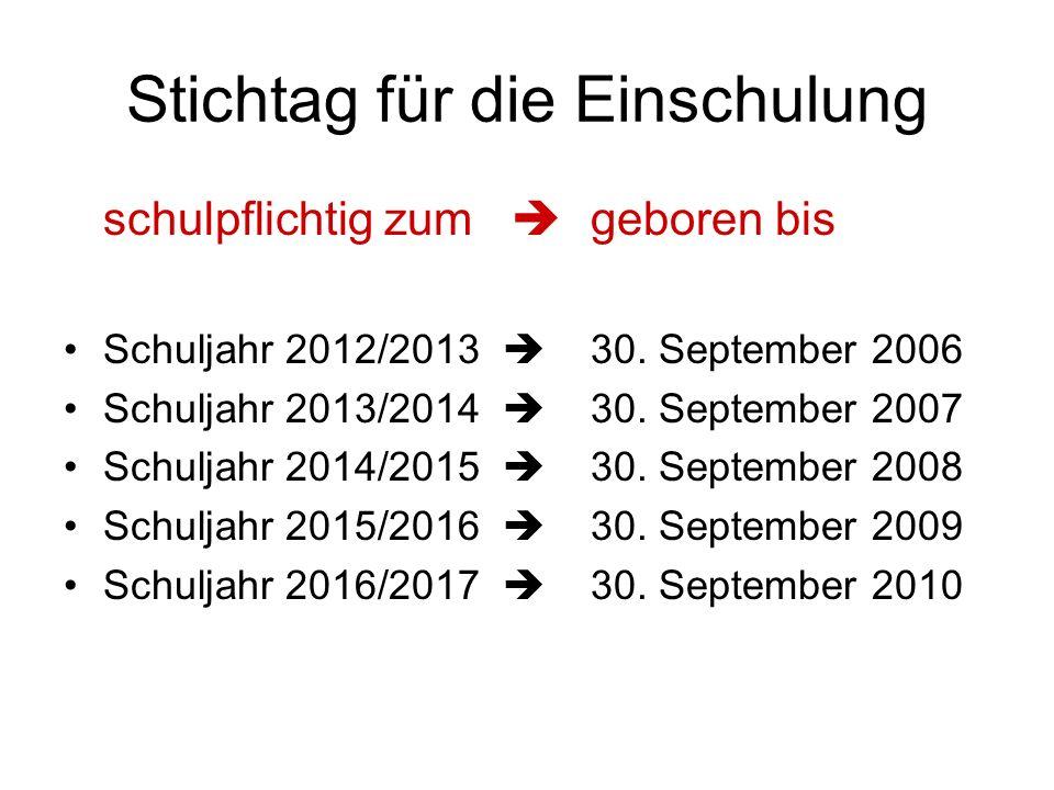 Stichtag für die Einschulung schulpflichtig zum geboren bis Schuljahr 2012/2013 30. September 2006 Schuljahr 2013/2014 30. September 2007 Schuljahr 20