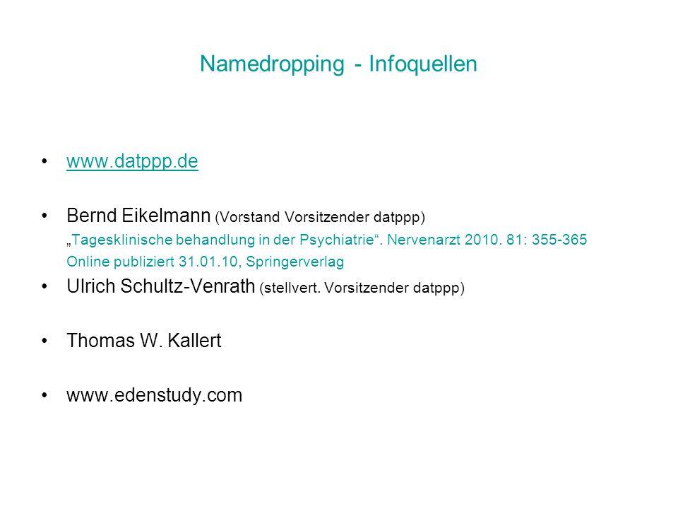 Namedropping - Infoquellen www.datppp.de Bernd Eikelmann (Vorstand Vorsitzender datppp) Tagesklinische behandlung in der Psychiatrie. Nervenarzt 2010.