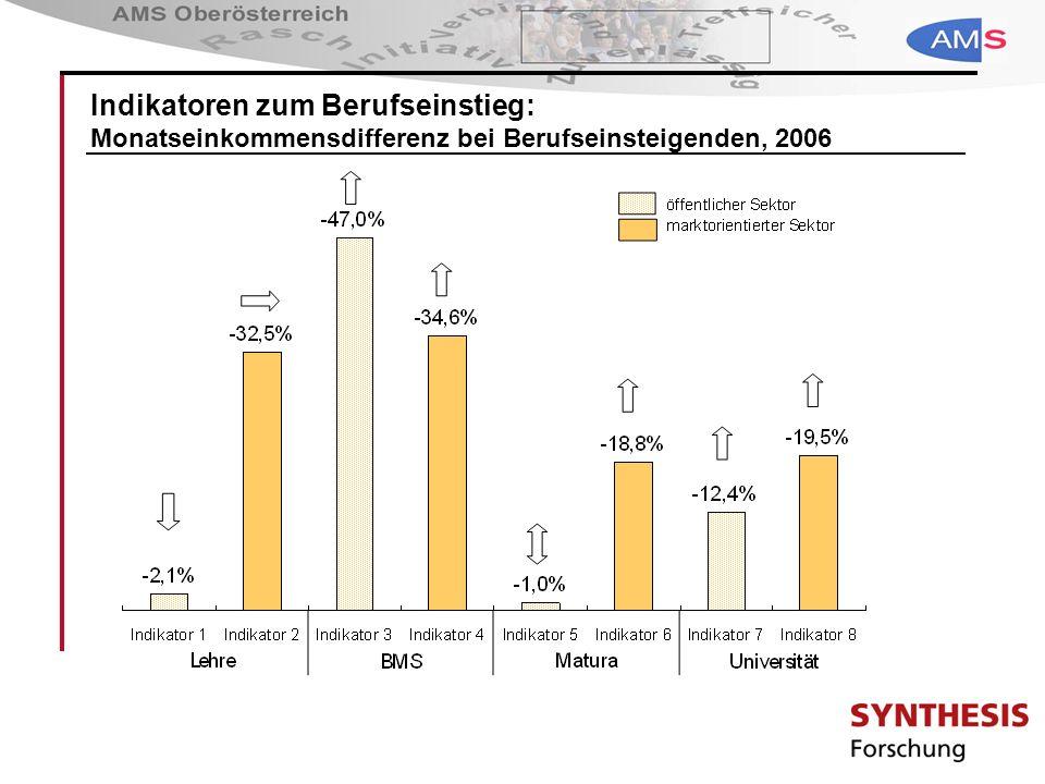 Indikatoren zum Berufseinstieg: Monatseinkommensdifferenz bei Berufseinsteigenden, 2006