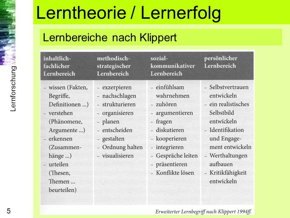 Lernforschung 5 Lerntheorie / Lernerfolg Lernbereiche nach Klippert