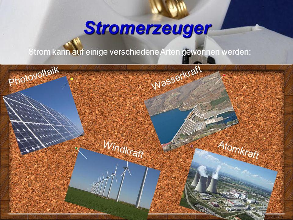 Stromerzeuger Photovoltaik Windkraft Wasserkraft Strom kann auf einige verschiedene Arten gewonnen werden: Atomkraft
