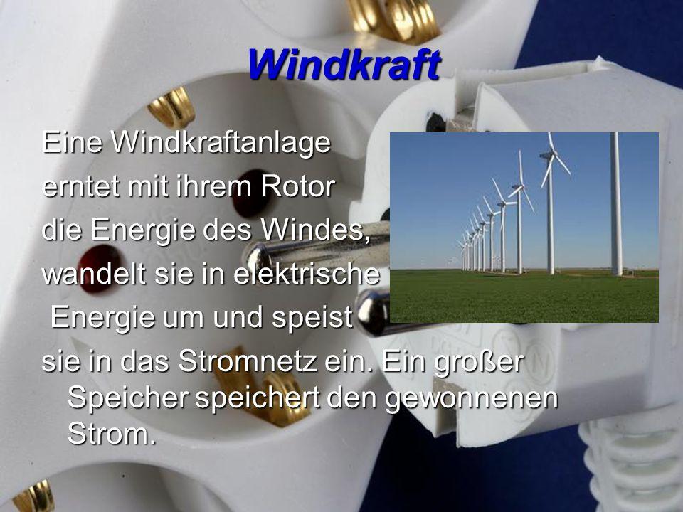 Windkraft Eine Windkraftanlage erntet mit ihrem Rotor die Energie des Windes, wandelt sie in elektrische Energie um und speist Energie um und speist s