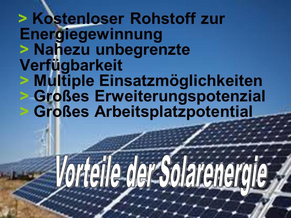 > Kostenloser Rohstoff zur Energiegewinnung > Nahezu unbegrenzte Verfügbarkeit > Multiple Einsatzmöglichkeiten > Großes Erweiterungspotenzial > Großes