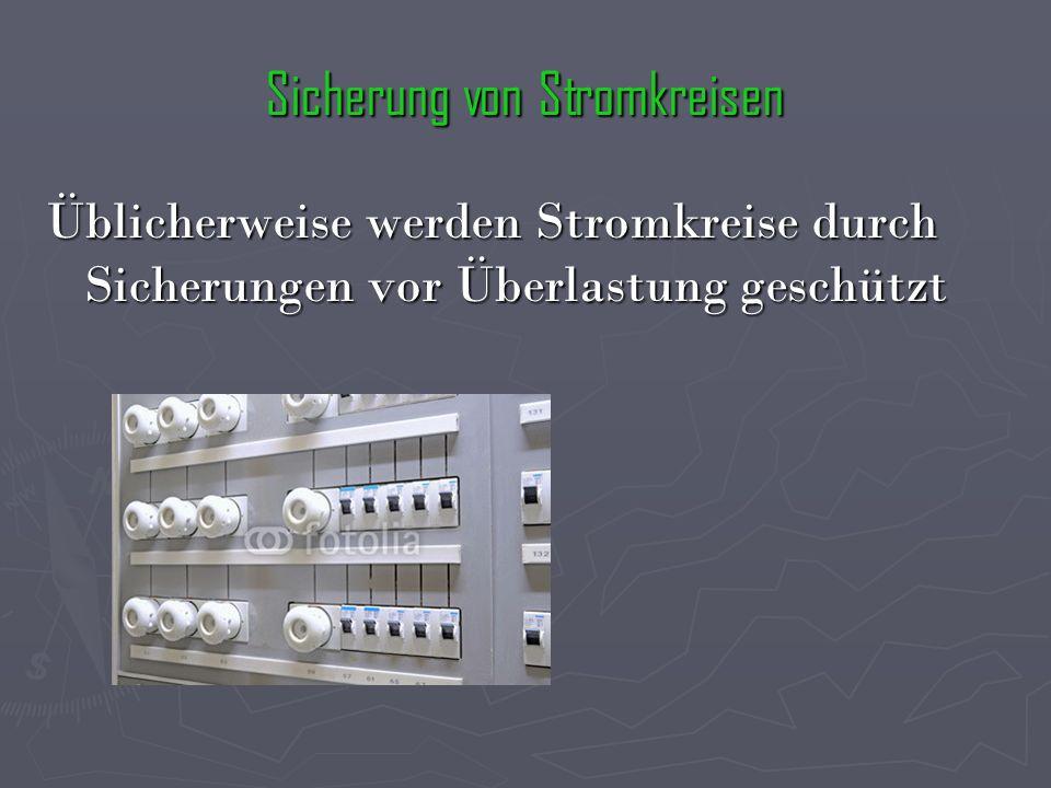 Sicherung von Stromkreisen Üblicherweise werden Stromkreise durch Sicherungen vor Überlastung geschützt