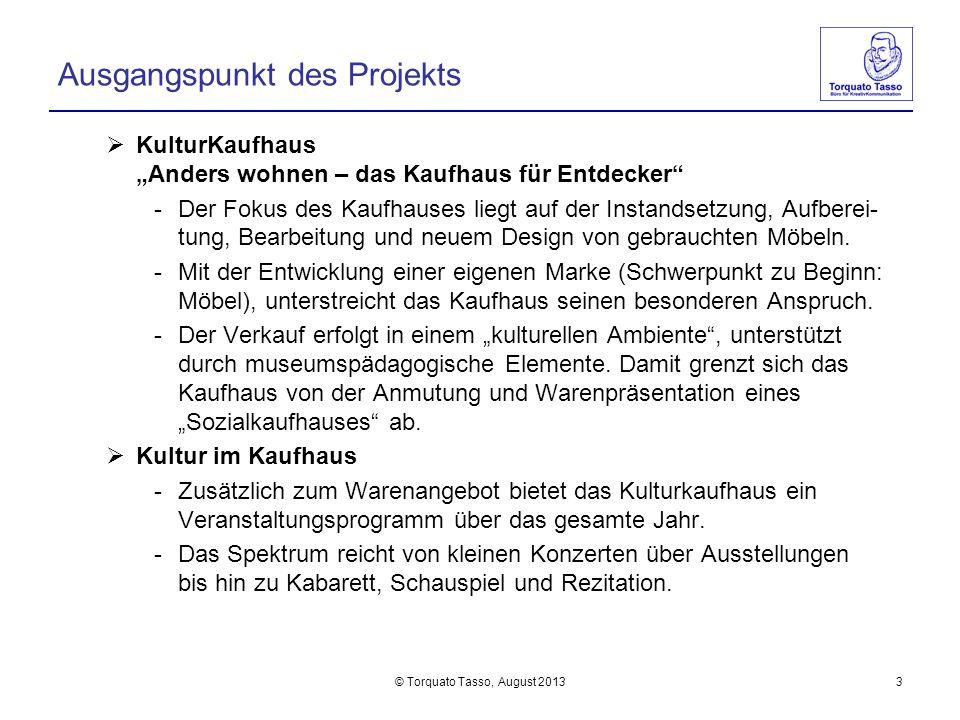 © Torquato Tasso, August 20133 Ausgangspunkt des Projekts KulturKaufhaus Anders wohnen – das Kaufhaus für Entdecker -Der Fokus des Kaufhauses liegt au
