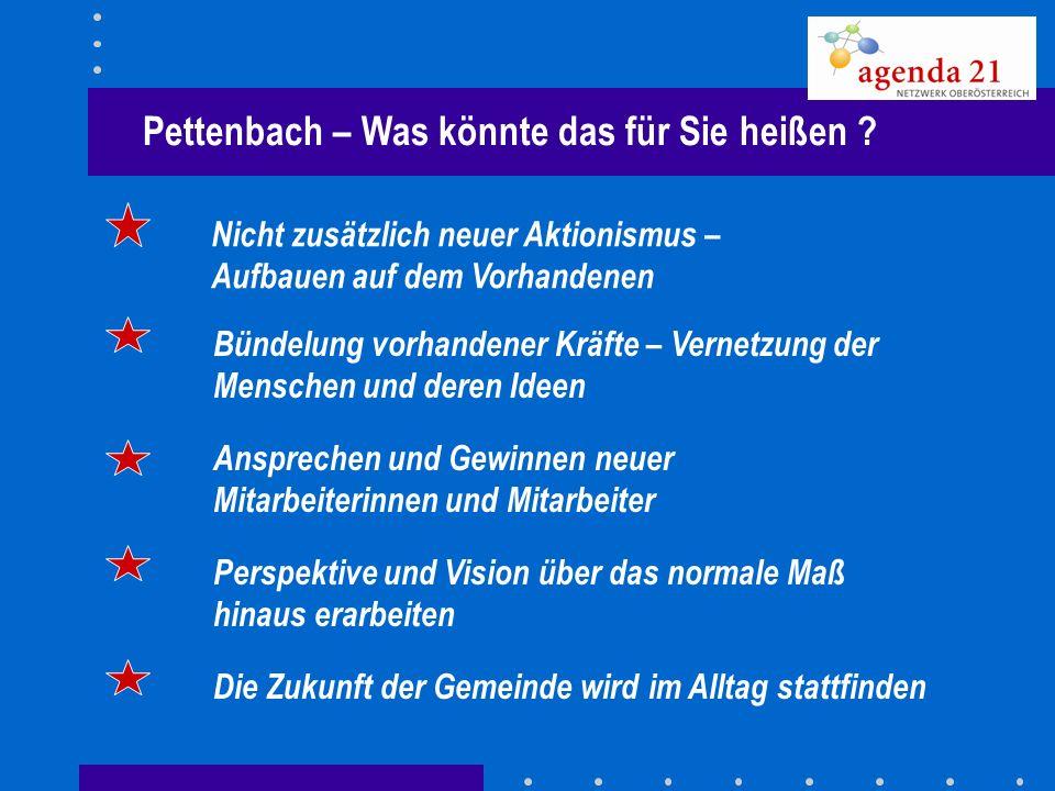 Pettenbach – Was könnte das für Sie heißen ? Nicht zusätzlich neuer Aktionismus – Aufbauen auf dem Vorhandenen Bündelung vorhandener Kräfte – Vernetzu