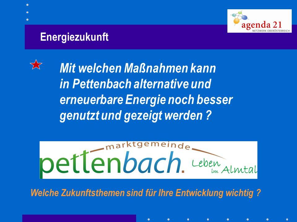 Energiezukunft Mit welchen Maßnahmen kann in Pettenbach alternative und erneuerbare Energie noch besser genutzt und gezeigt werden ? Welche Zukunftsth