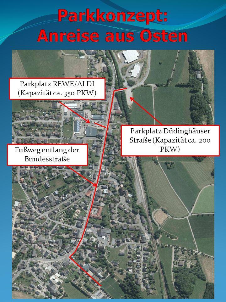 Parkplatz REWE/ALDI (Kapazität ca. 350 PKW) Parkplatz Düdinghäuser Straße (Kapazität ca. 200 PKW) Fußweg entlang der Bundesstraße