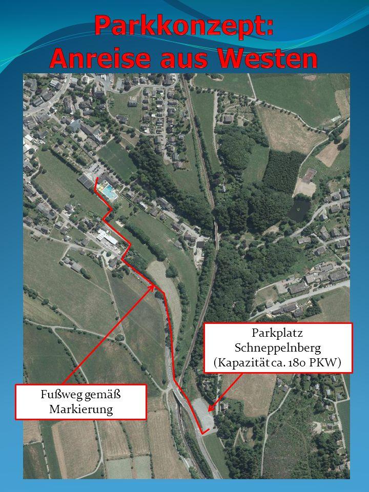 Parkplatz Schneppelnberg (Kapazität ca. 180 PKW) Fußweg gemäß Markierung
