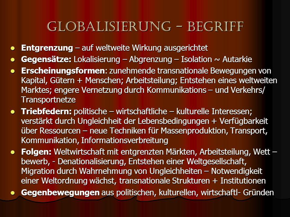 Globalisierung - begriff Entgrenzung – auf weltweite Wirkung ausgerichtet Entgrenzung – auf weltweite Wirkung ausgerichtet Gegensätze: Lokalisierung –