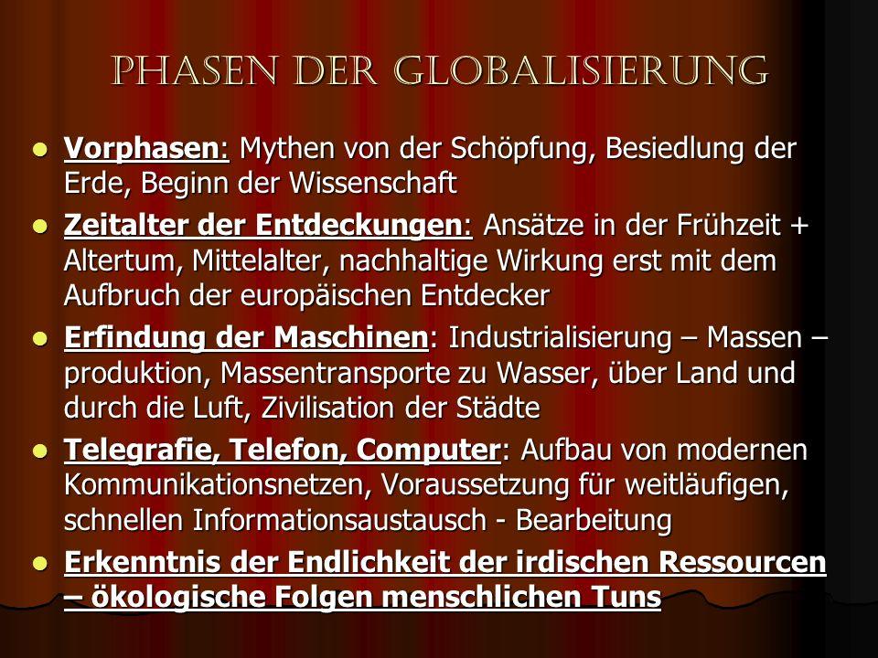 Phasen der globalisierung Vorphasen: Mythen von der Schöpfung, Besiedlung der Erde, Beginn der Wissenschaft Vorphasen: Mythen von der Schöpfung, Besie