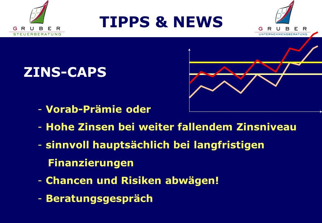 TIPPS & NEWS ZINS-CAPS - Vorab-Prämie oder - Hohe Zinsen bei weiter fallendem Zinsniveau - sinnvoll hauptsächlich bei langfristigen Finanzierungen - Chancen und Risiken abwägen.