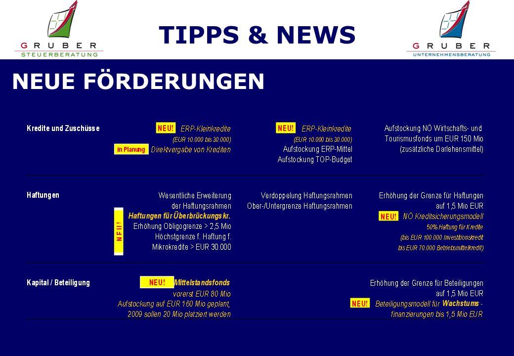TIPPS & NEWS NEUE FÖRDERUNGEN
