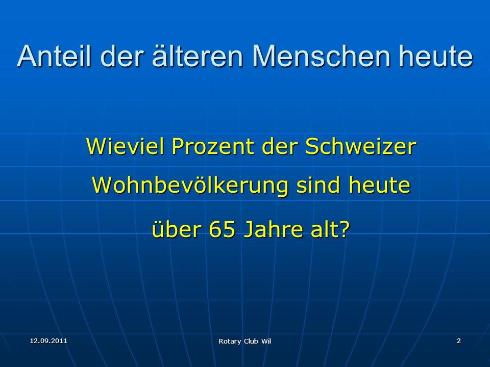 12.09.2011 Rotary Club Wil 2 Anteil der älteren Menschen heute Wieviel Prozent der Schweizer Wohnbevölkerung sind heute über 65 Jahre alt?