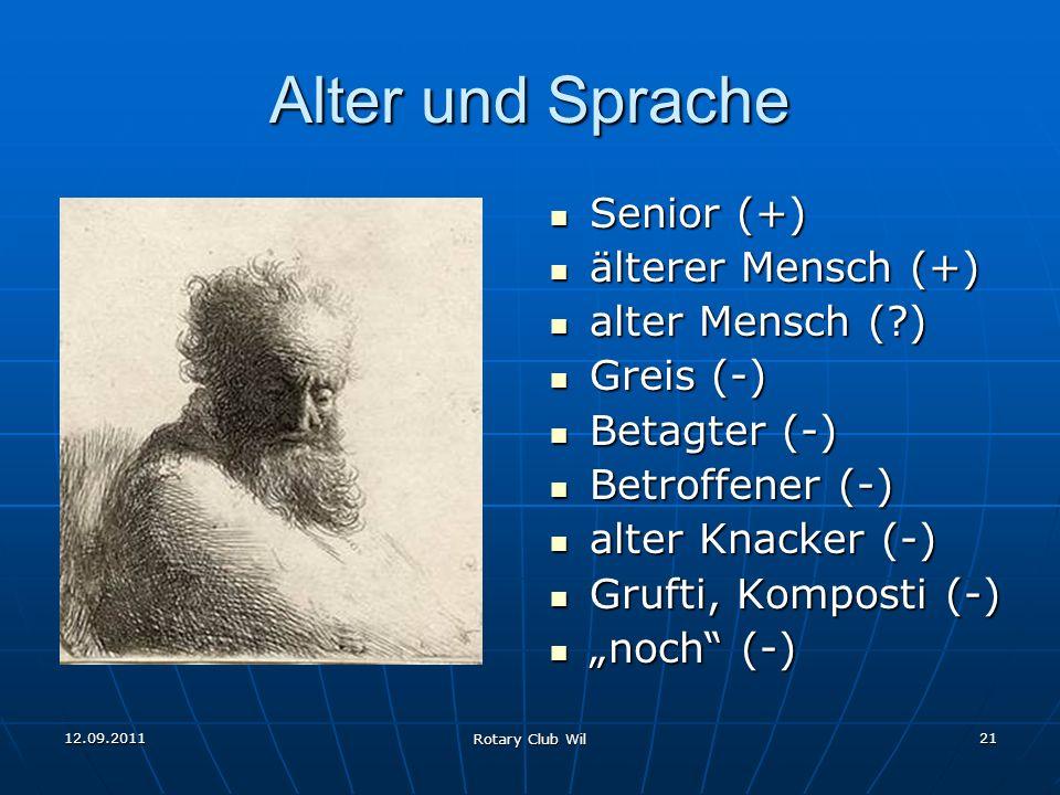 12.09.2011 Rotary Club Wil 21 Alter und Sprache Senior (+) Senior (+) älterer Mensch (+) älterer Mensch (+) alter Mensch (?) alter Mensch (?) Greis (-
