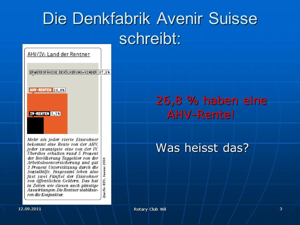 12.09.2011 Rotary Club Wil 3 Die Denkfabrik Avenir Suisse schreibt: 26,8 % haben eine AHV-Rente! Was heisst das?